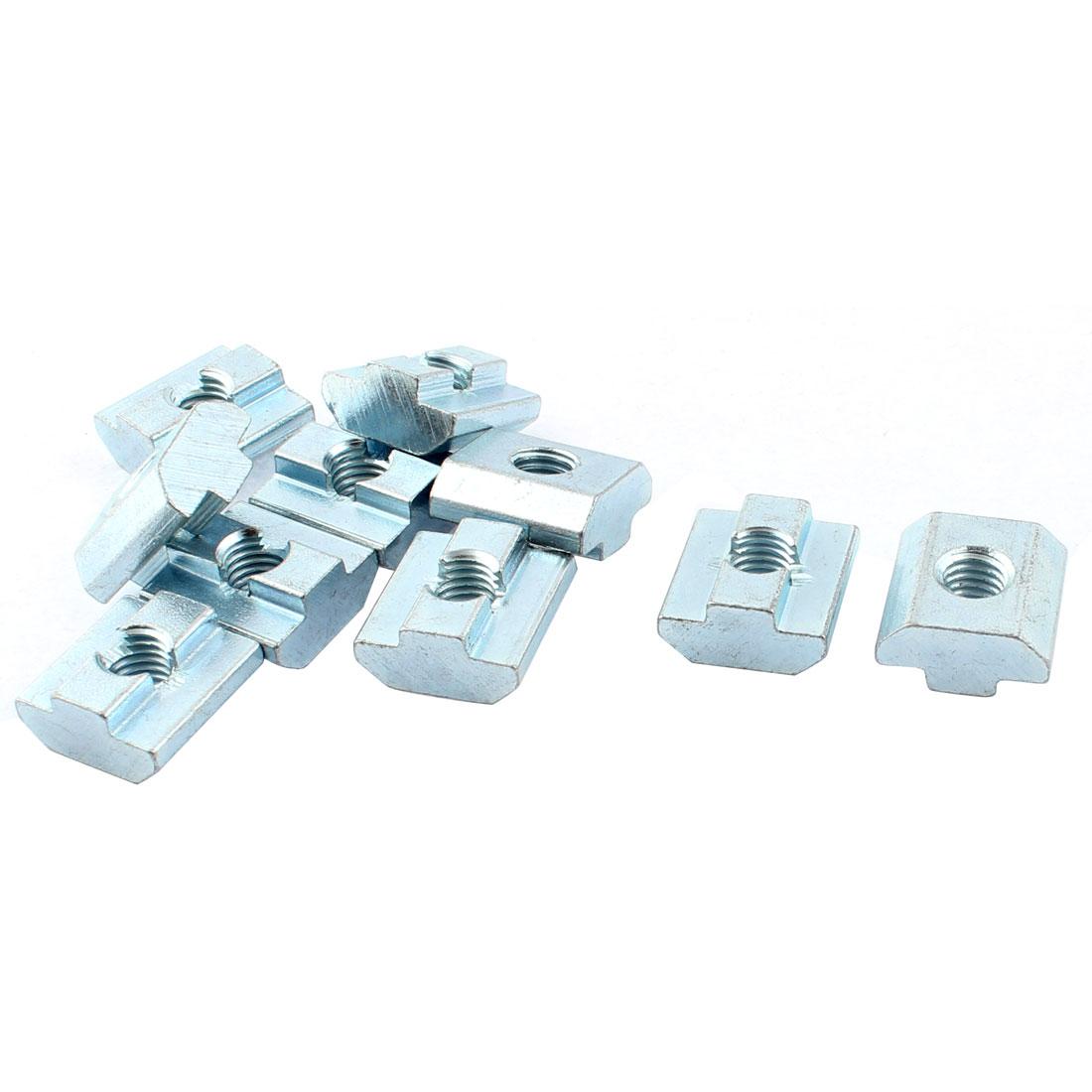 M8 Female Thread 40 Series Slide in Metal T-slot Nut Silver Tone 10pcs