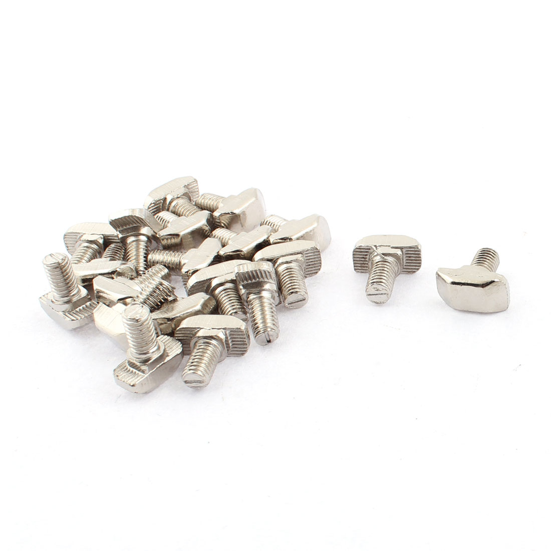M6 x 12mm Metal T Slot Drop-in Stud Sliding Bolt Screw Silver Tone 20pcs