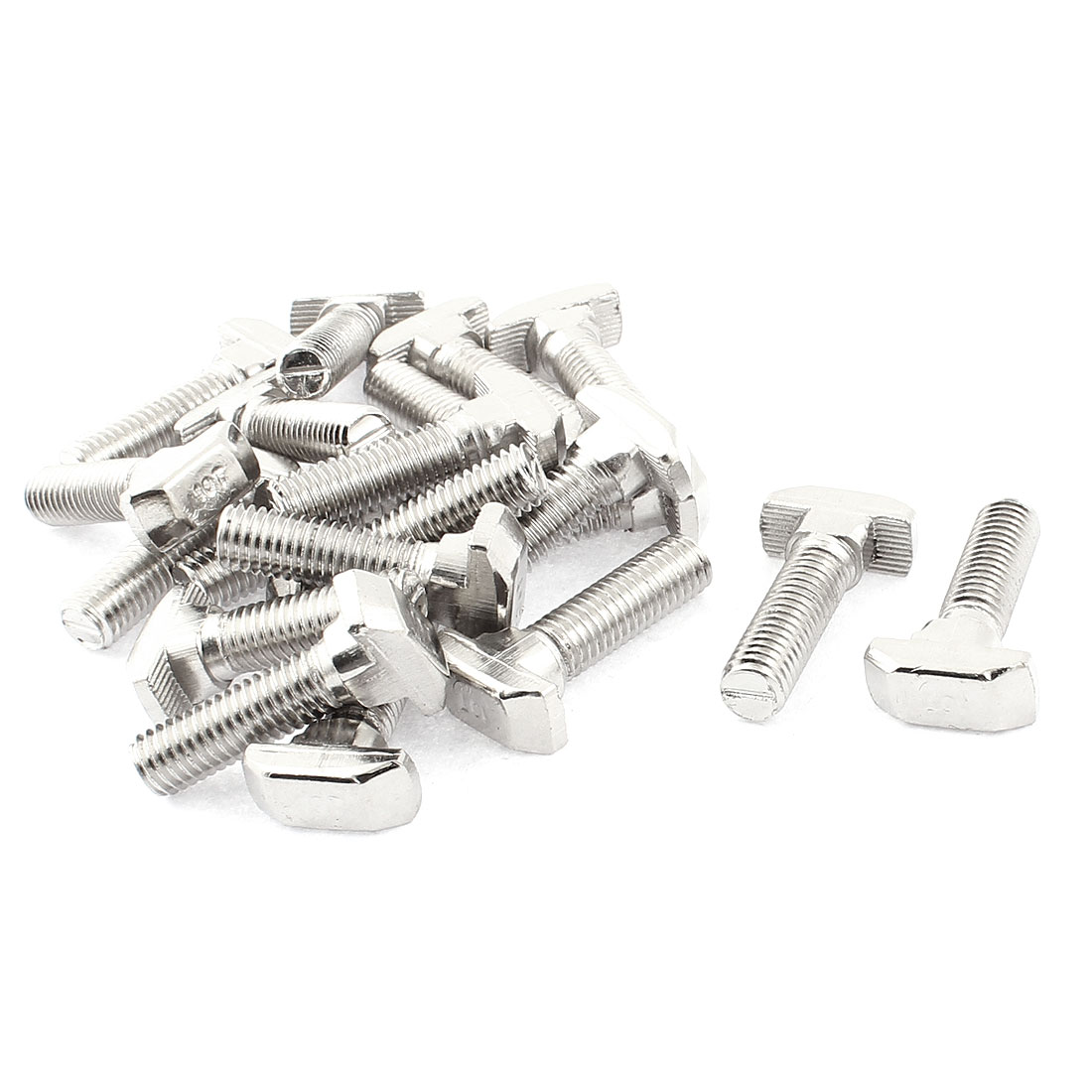 M8 x 30mm Metal T Slot Drop-in Stud Sliding Bolt Screw Silver Tone 20pcs