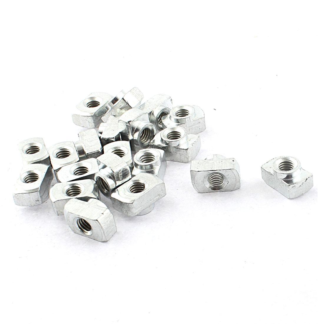 M5 Female Thread 40 Series T Slot Hammer Head Drop-in Nut Silver Tone 20pcs