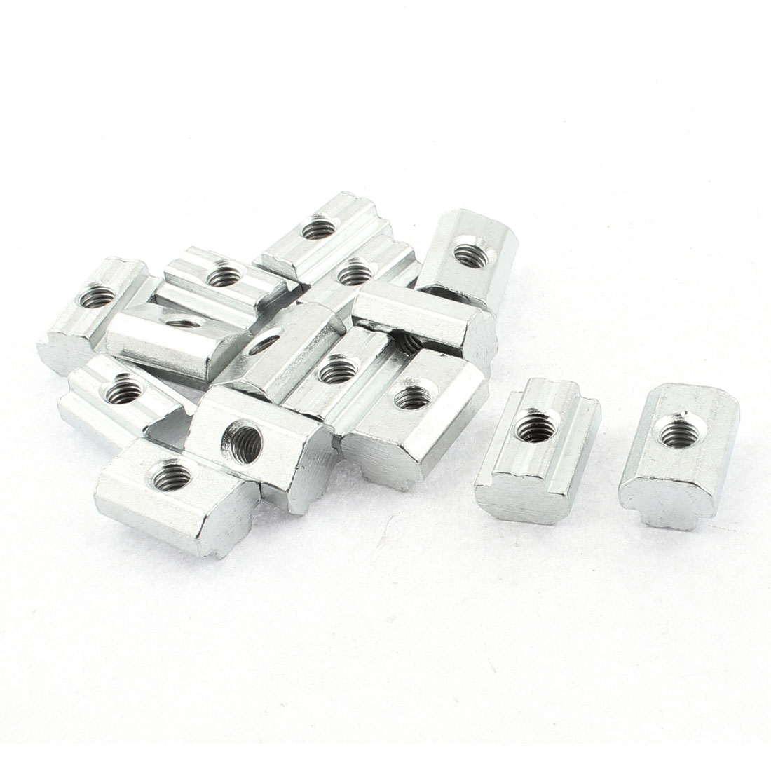 M6 Female Thread Metal T-slot Sliding Block Slot Nut Silver Tone 15pcs