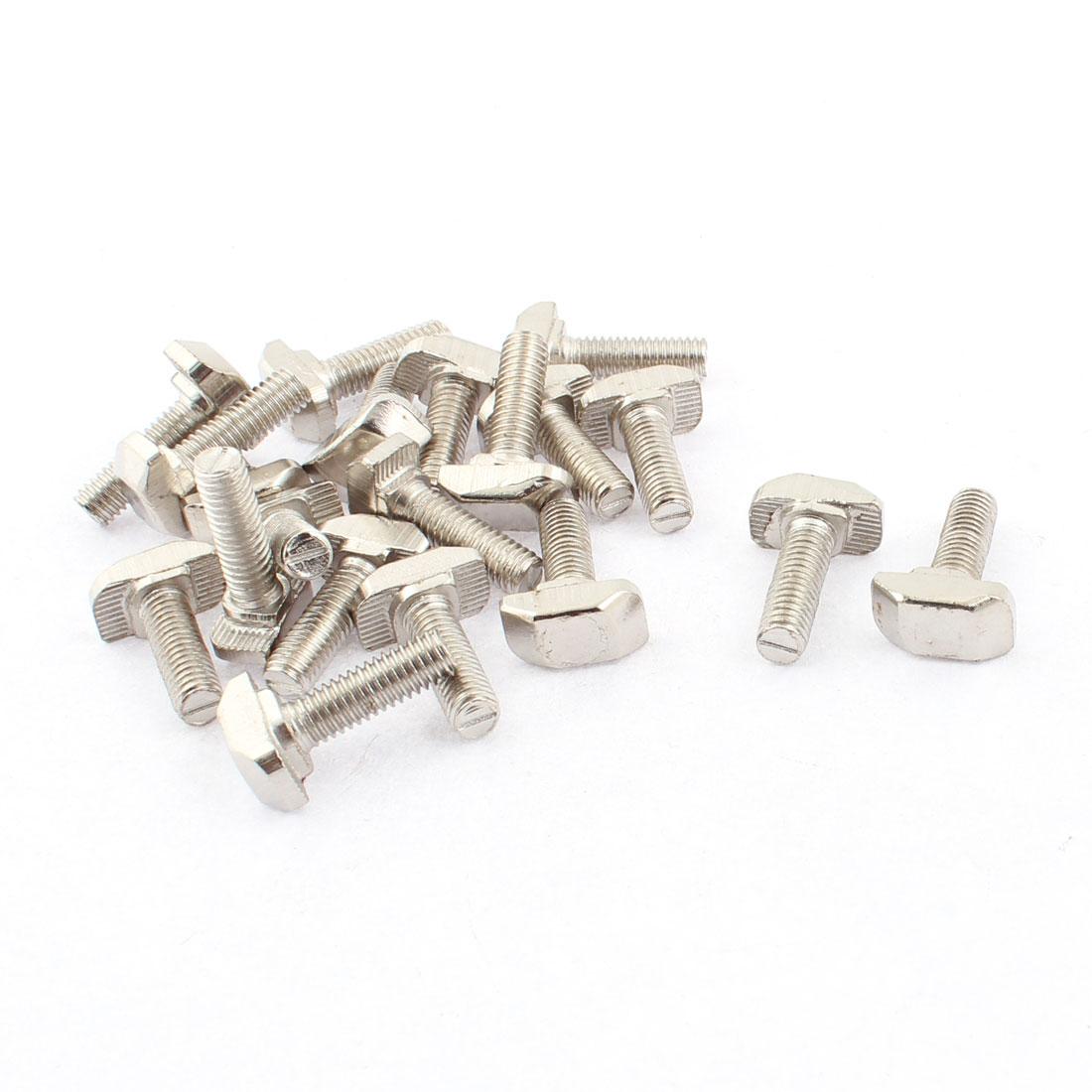 M6 x 20mm Metal T Slot Drop-in Stud Sliding Bolt Screw Silver Tone 20pcs
