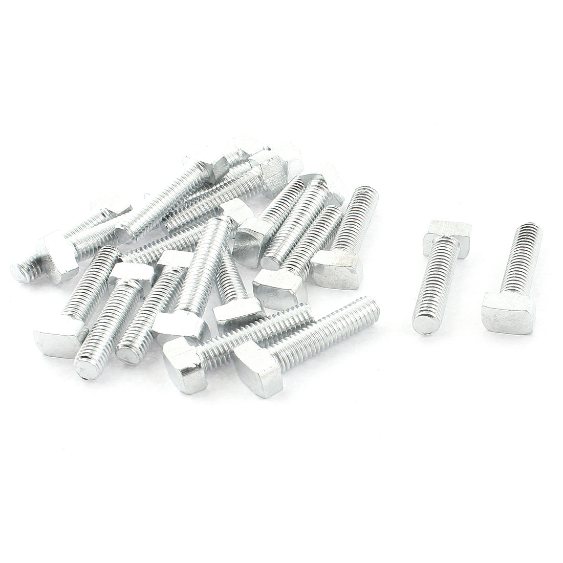 M6 x 25mm 30 Series Hammer Head Metal T-bolt T Bolt Screw Silver Tone 20pcs