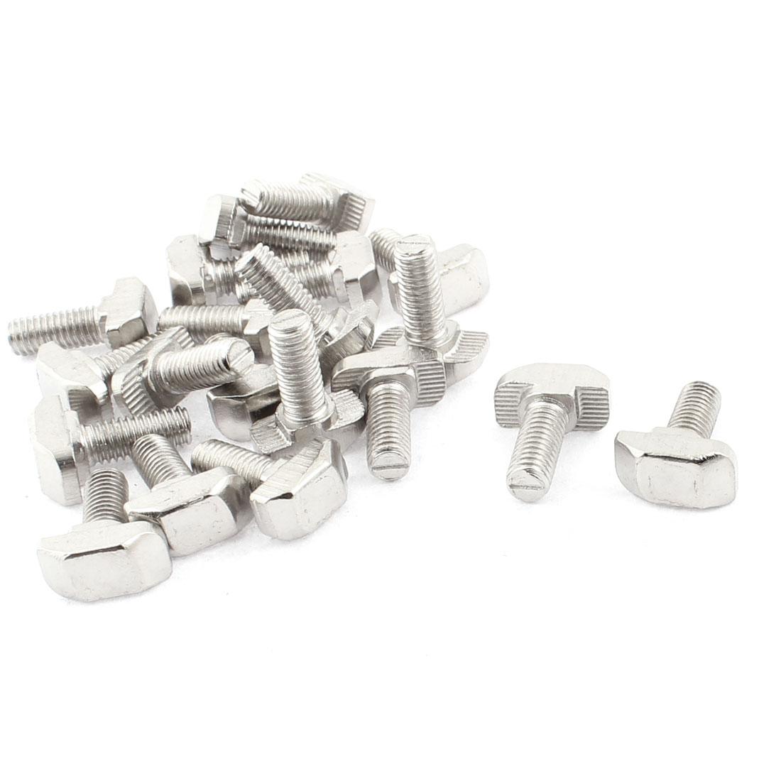 M6 x 16mm Metal T Slot Drop-in Stud Sliding Bolt Screw Silver Tone 20pcs