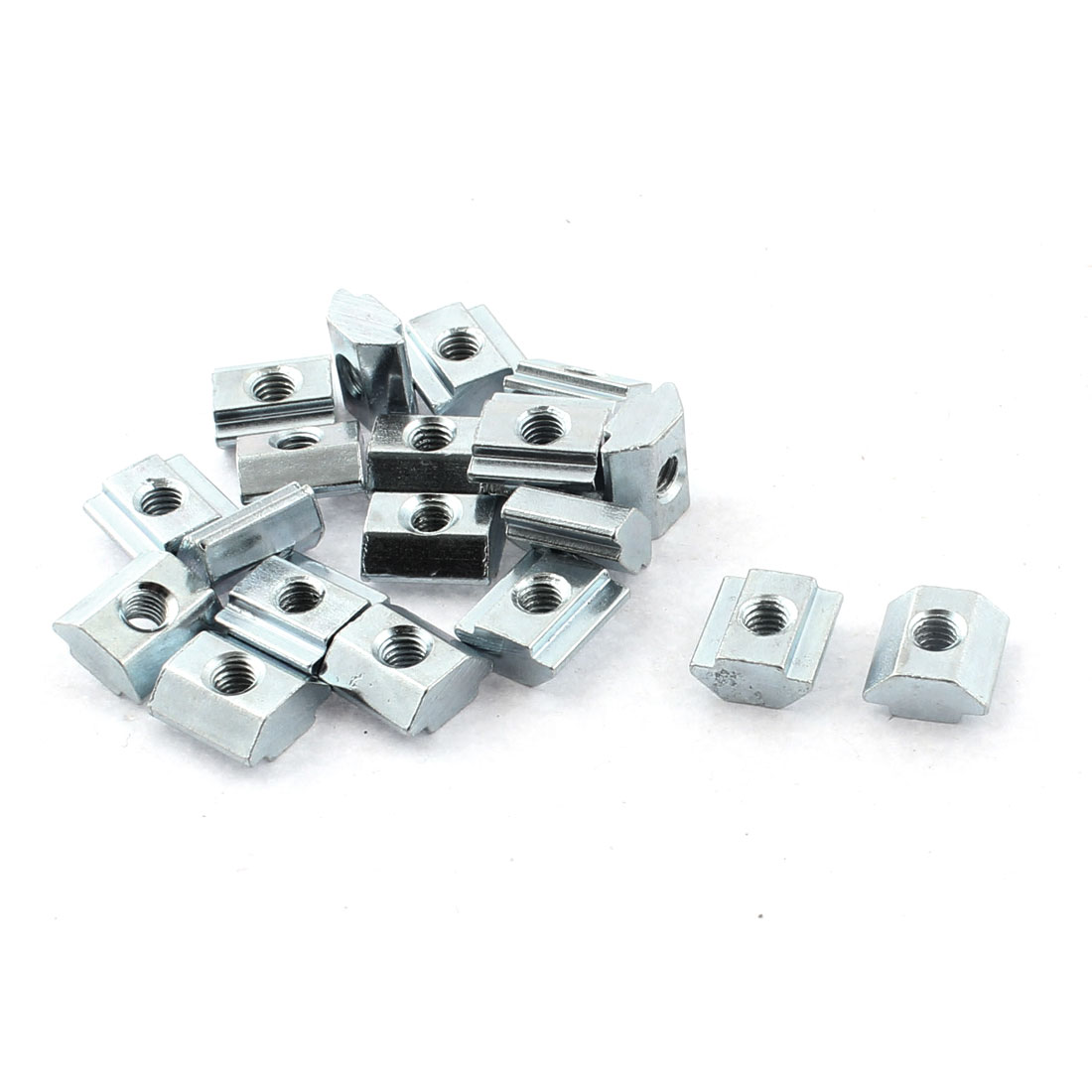 M4 Female Thread 20 Series Slide in Metal T-slot Nut Silver Tone 20pcs