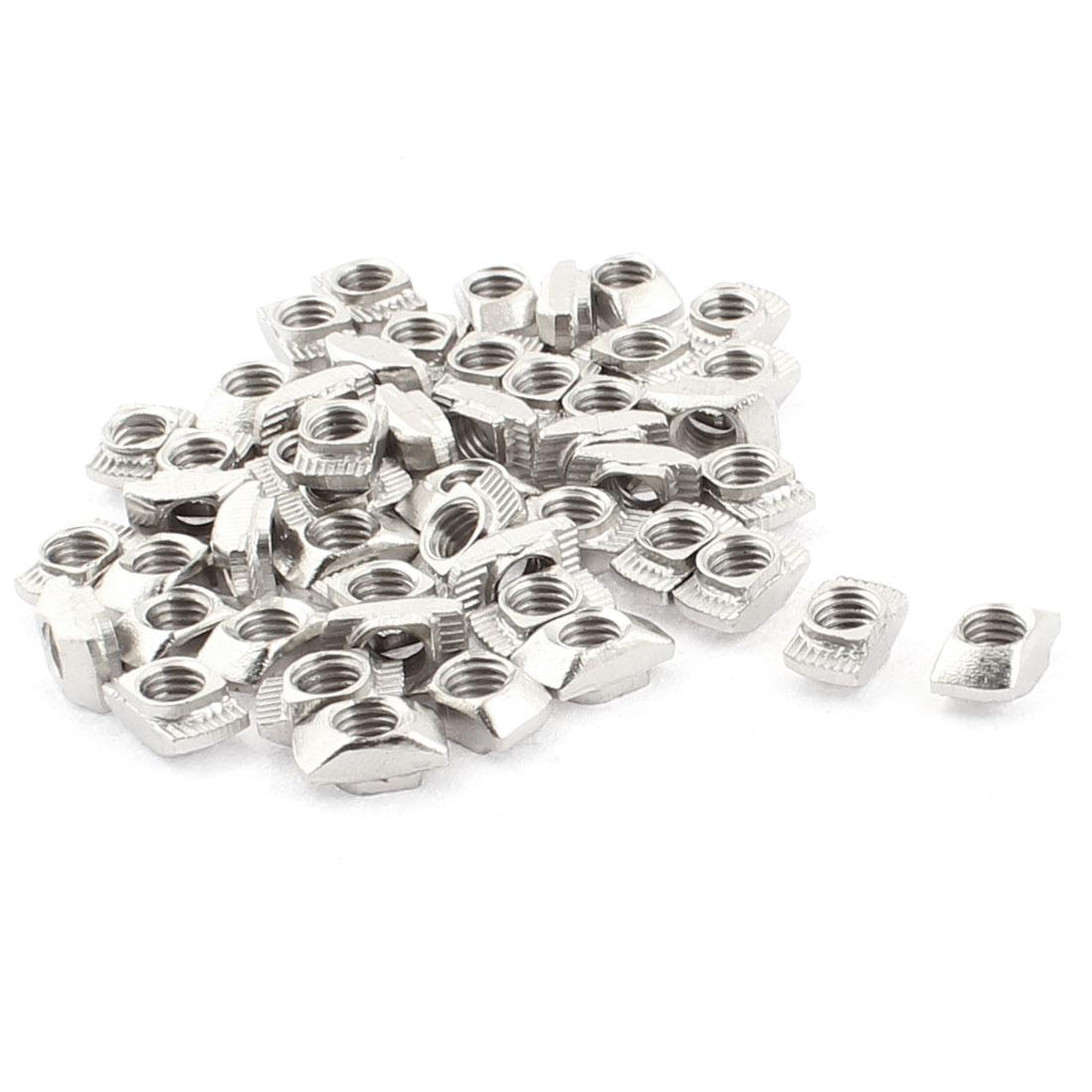 M5 Female Thread Metal T Slot Hammer Head Drop in Nut Silver Tone 50pcs