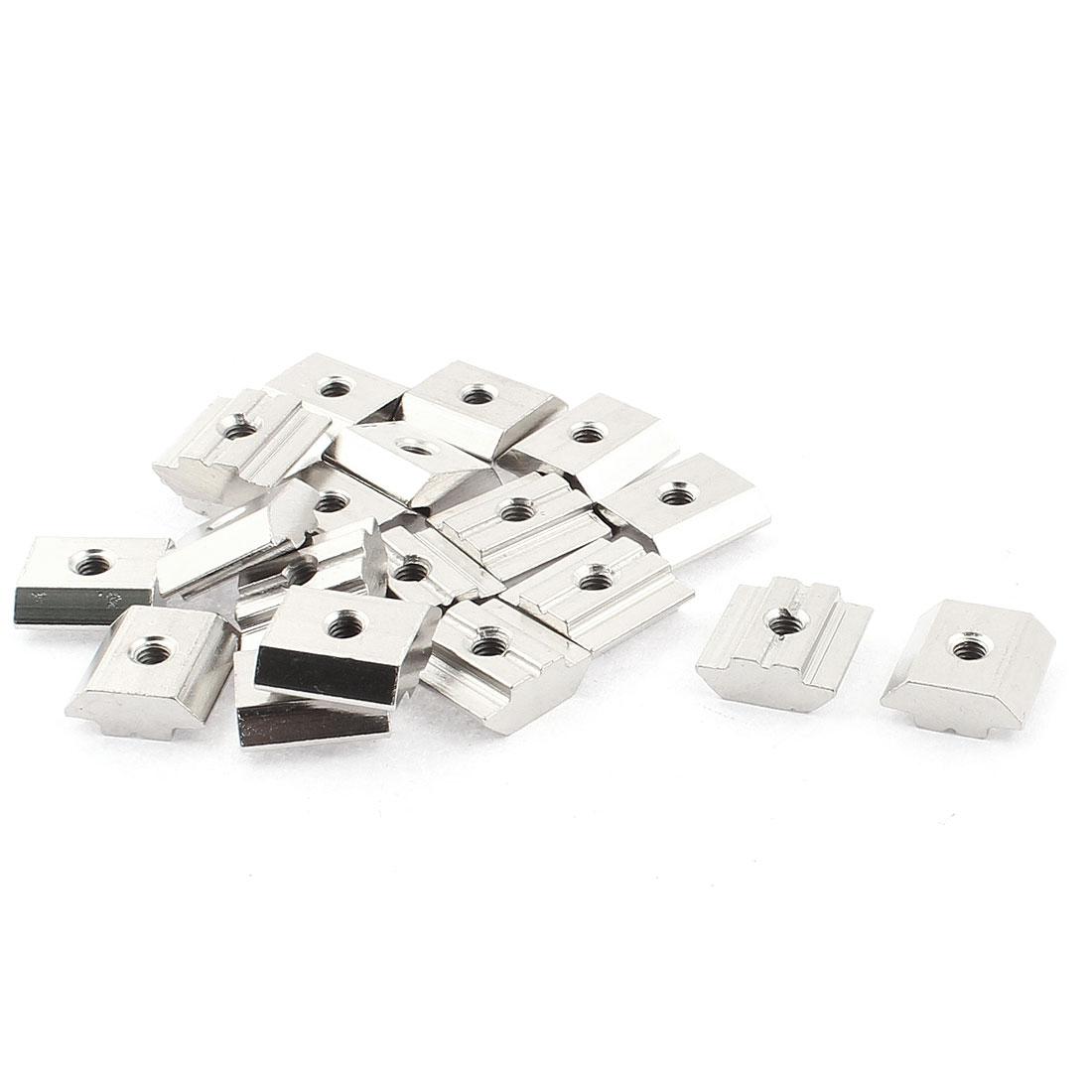 M4 Female Thread Metal T-slot Sliding Block Slot Nut Silver Tone 20pcs