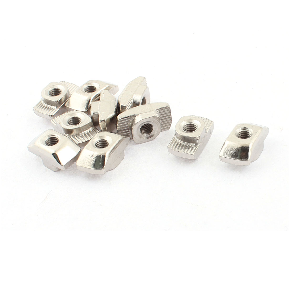 M5 Female Thread Metal T Slot Hammer Head Drop in Nut Silver Tone 10pcs