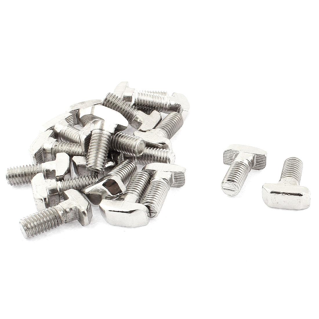 M8 x 20mm Metal T Slot Drop-in Stud Sliding Bolt Screw Silver Tone 20pcs