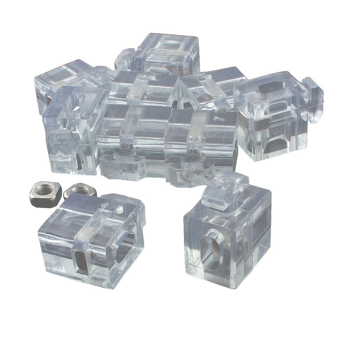 Square Nut Aluminum Profile 40 Series Spacer Fastener Connector Block Clear 10pcs