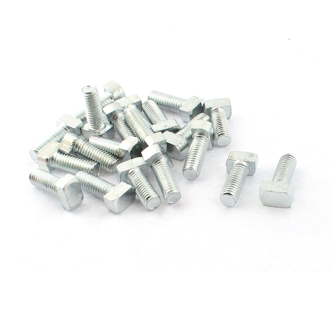 M6 x 16mm 30 Series Hammer Head Metal T-bolt T Bolt Screw Silver Tone 20pcs