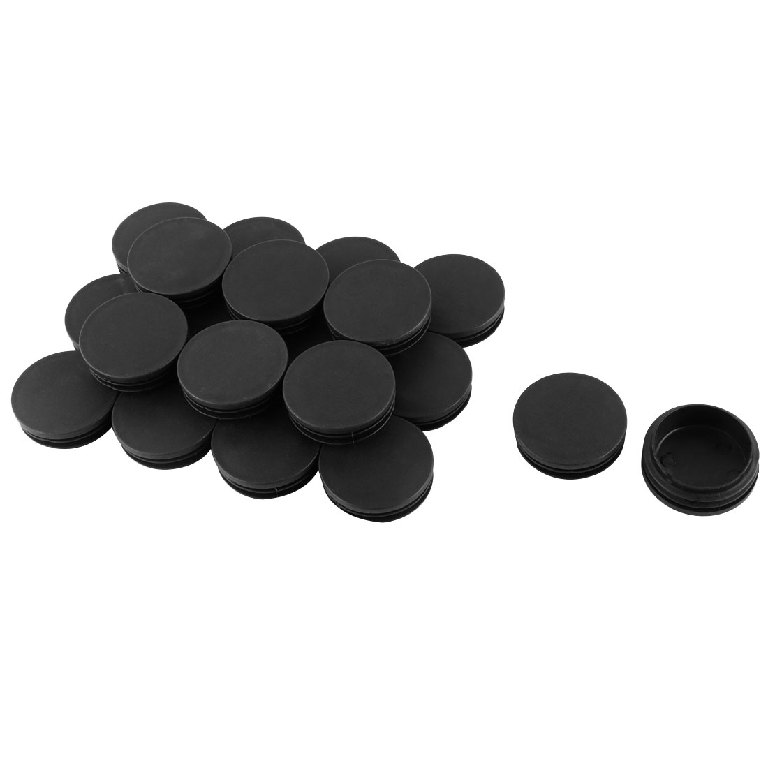 49mm Thread Plastic Round Table Chair Leg Feet Tube Pipe Insert Blanking End Cap Black 20pcs