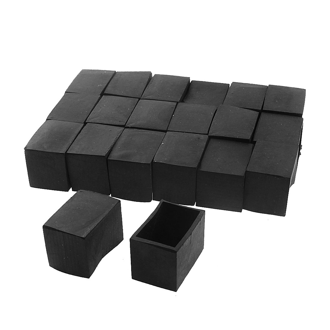 30mm x 20mm Rectangle Shape Furniture Table Desk Foot Leg Rubber End Cap Cover Black 20pcs