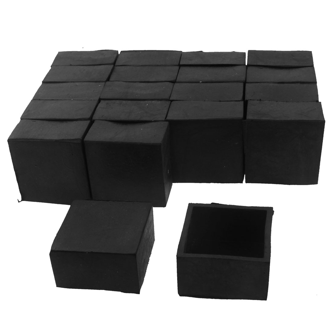 40mm x 40mm Square Shaped Furniture Table Chair Foot Leg Rubber End Cap Cover Black 20pcs