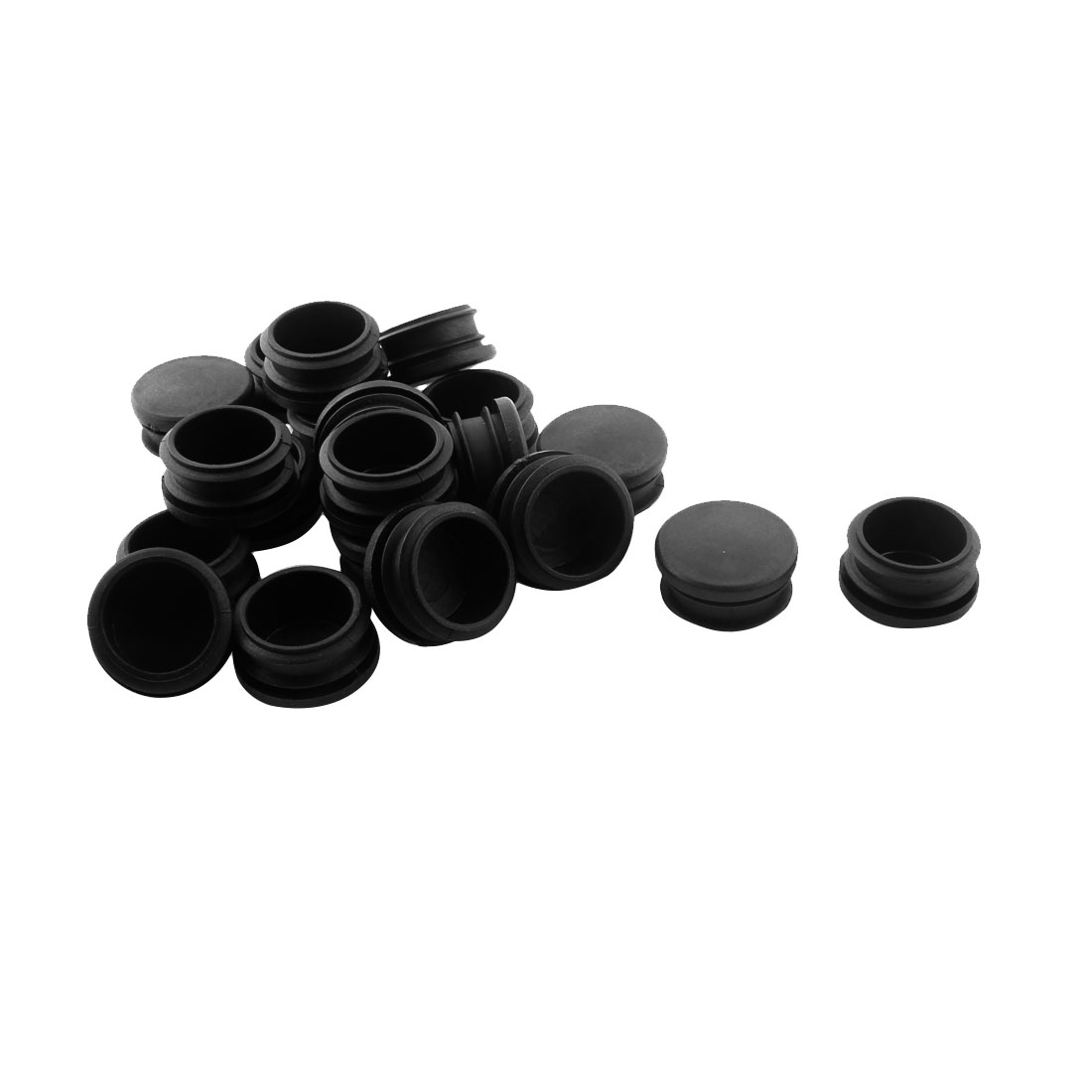 30mm Dia Plastic Round Table Chair Leg Feet Tube Pipe Insert Blanking End Cap Black 20pcs