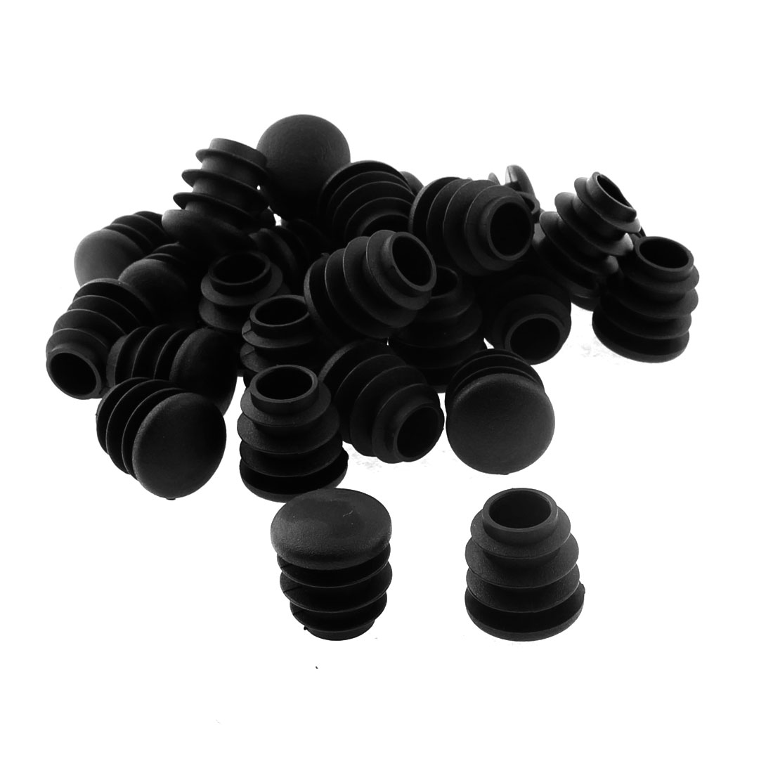 Plastic Round Table Chair Leg Feet Tube Pipe Insert Blanking End Cap Black 16mm Dia 30pcs