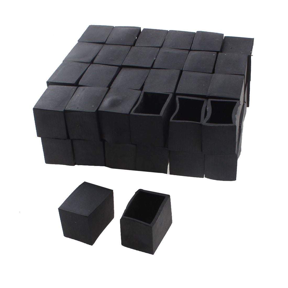 30mm x 20mm Rectangle Shape Furniture Table Chair Foot Leg Rubber End Cap Cover Black 50pcs