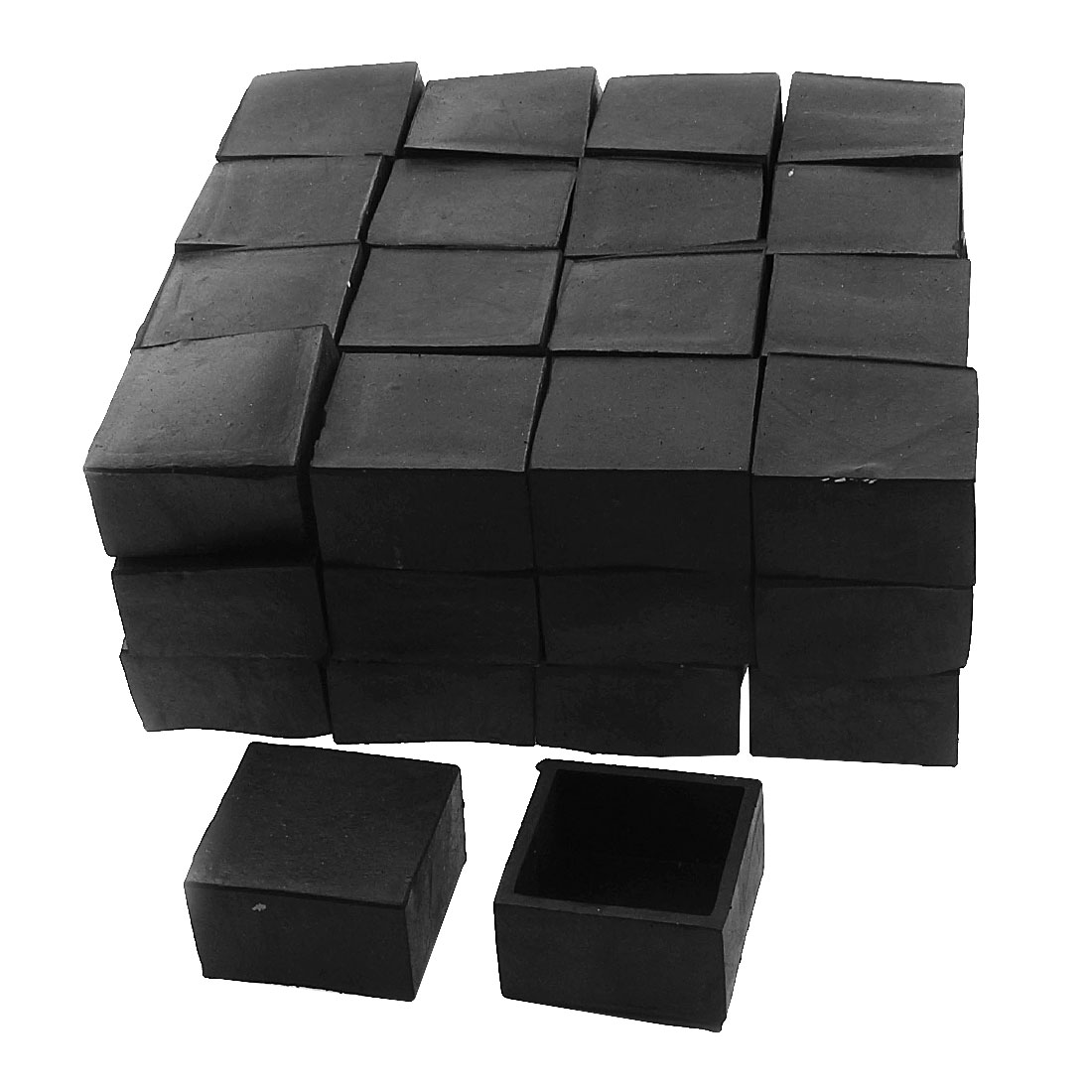 40mm x 40mm Square Shaped Furniture Table Desk Foot Leg Rubber End Cap Cover Black 50pcs