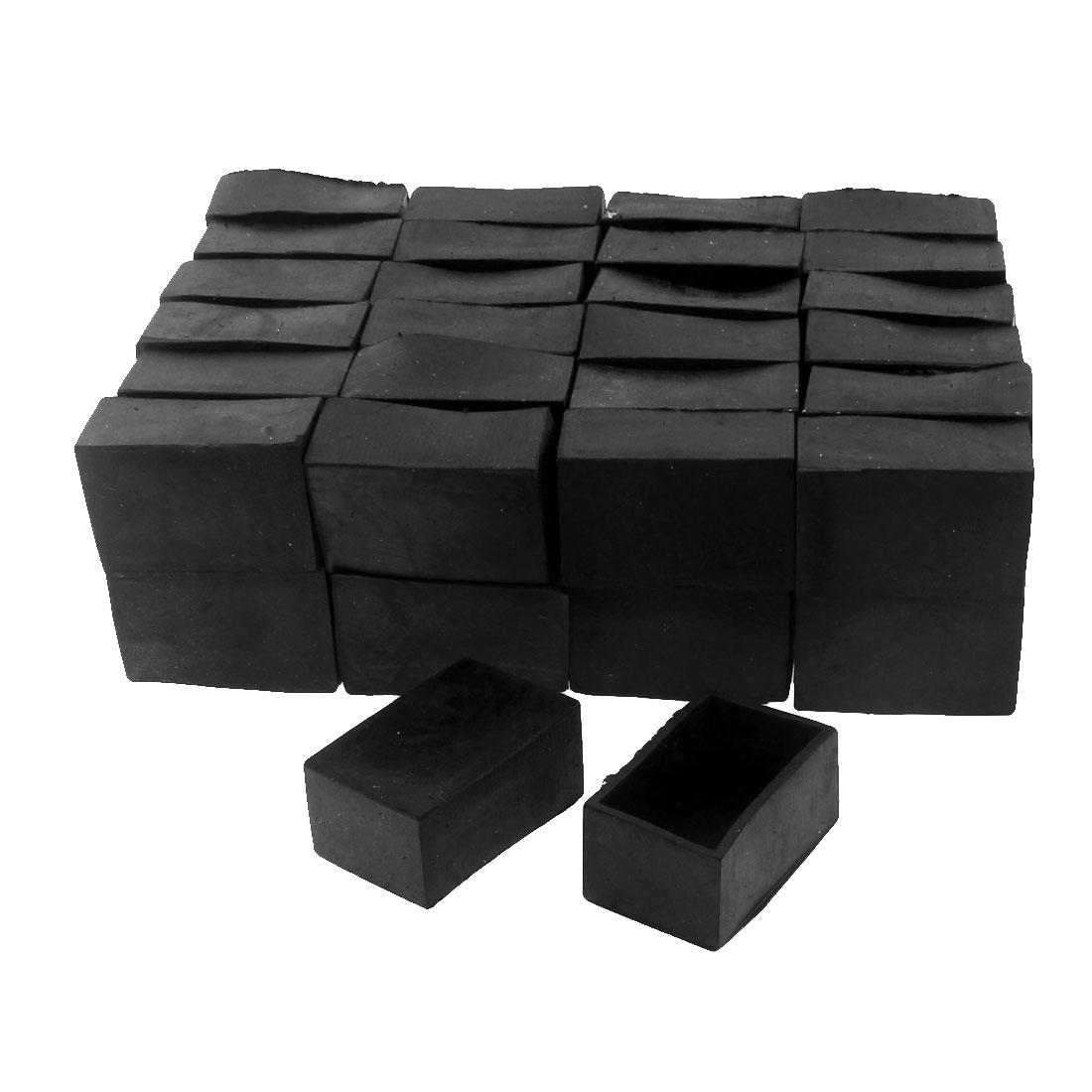 50mm x 30mm Rectangle Shape Furniture Table Desk Foot Leg Rubber End Cap Cover Black 50pcs