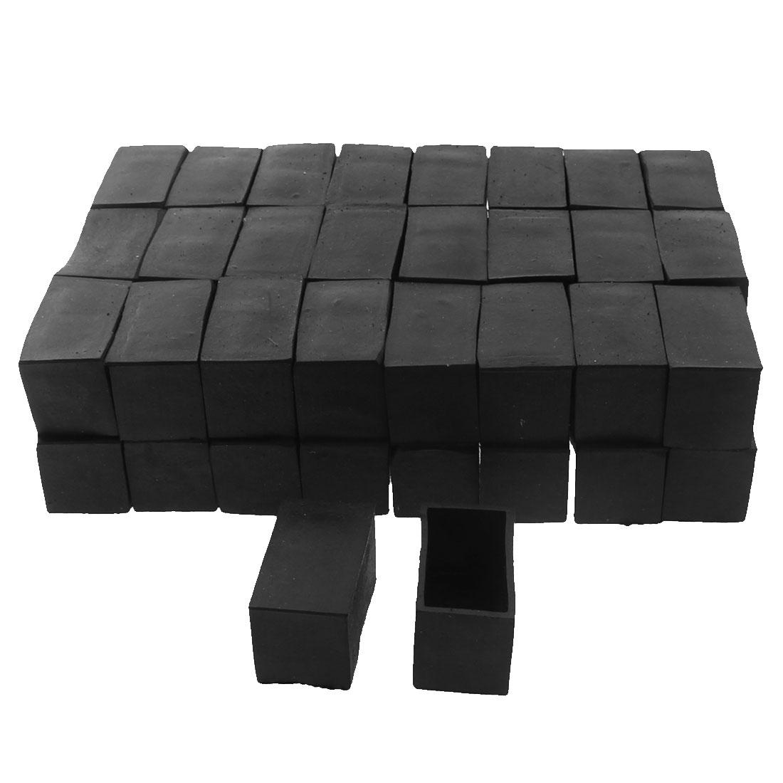 40mm x 20mm Rectangle Shape Furniture Table Chair Foot Leg Rubber End Cap Cover Black 50pcs