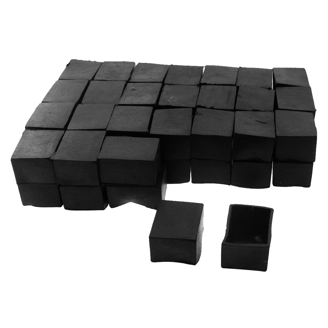 40mm x 30mm Rectangle Shape Furniture Table Chair Foot Leg Rubber End Cap Cover Black 50pcs