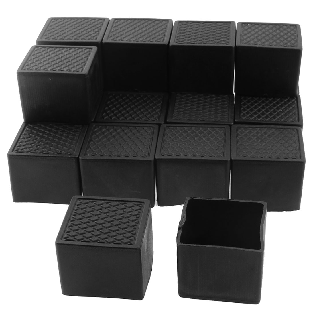 35mm x 35mm Square Shaped Furniture Table Chair Leg Foot Plastic Cover Cap Black 20pcs