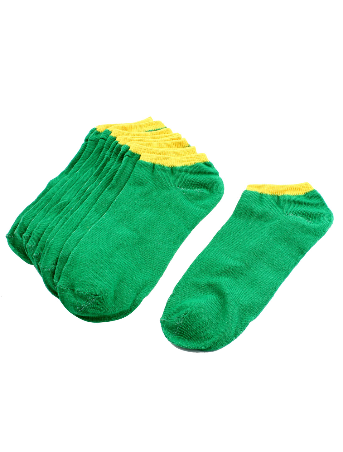Woman Lady Sports Elastic Cuff Low Cut Short Ankle Socks Green 5 Pairs