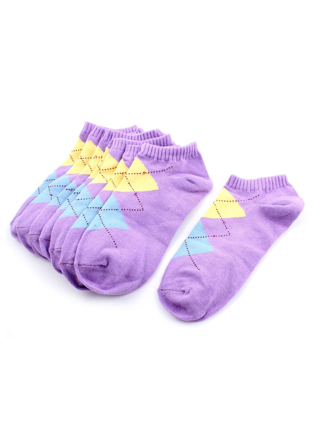 Woman Lady Argyle Pattern Elastic Cuff Low Cut Short Ankle Socks Purple 4 Pairs