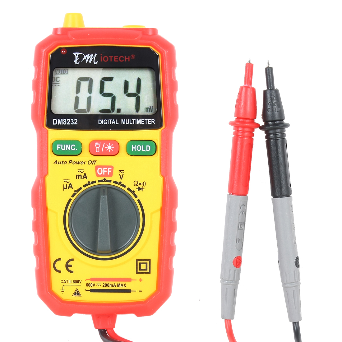 DM8232 Auto Ranging Multimeter 200mA Range AC/DC Current Voltage Resistance Continuity