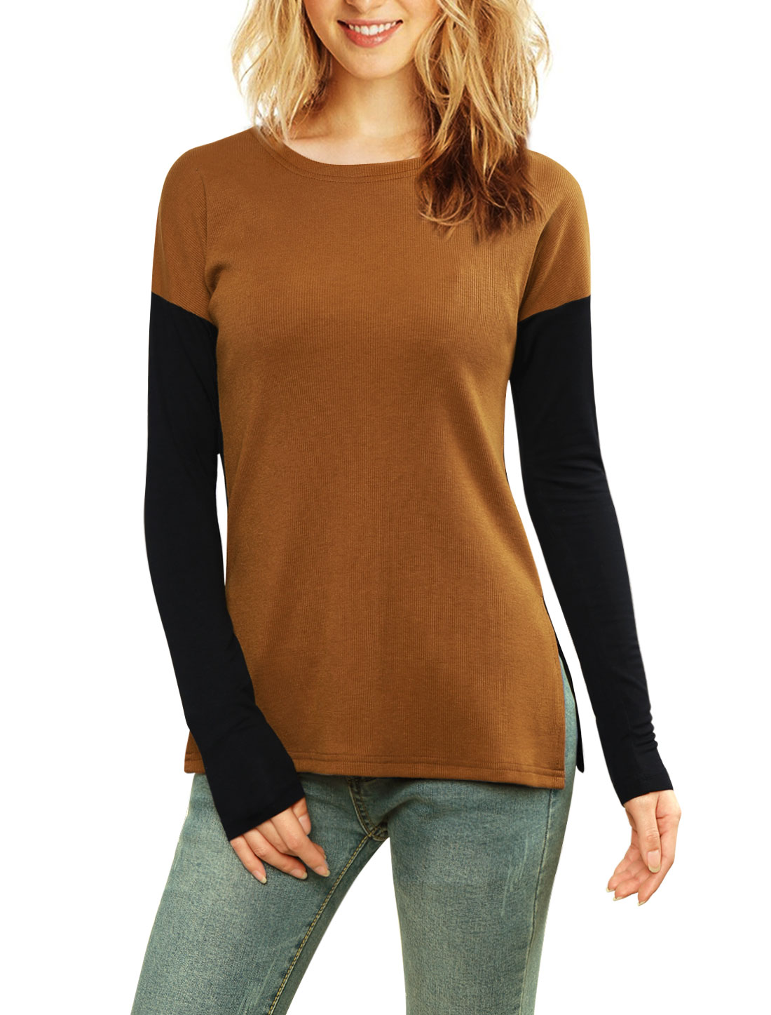 Women Color Block Side-Slit Paneled Slim Fit Ribbed Top Brown XS