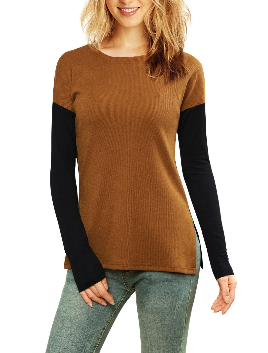 Women Color Block Side-Slit Paneled Slim Fit Ribbed Top Brown L