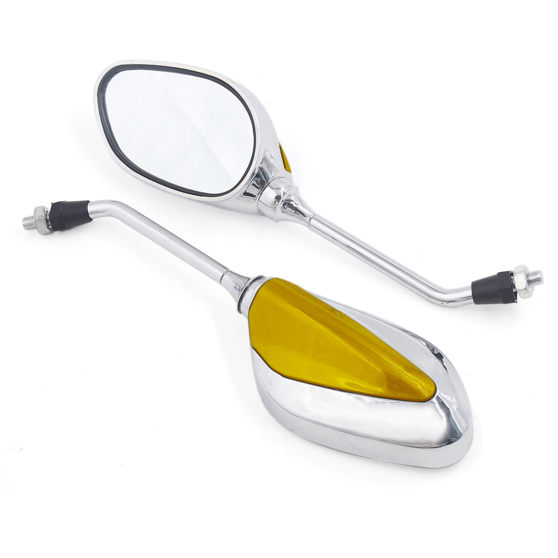 8mm Thread Dia Oval Shaped Motorcycle Street Bike Chopper Side Rearview Mirror Gold Tone Pair
