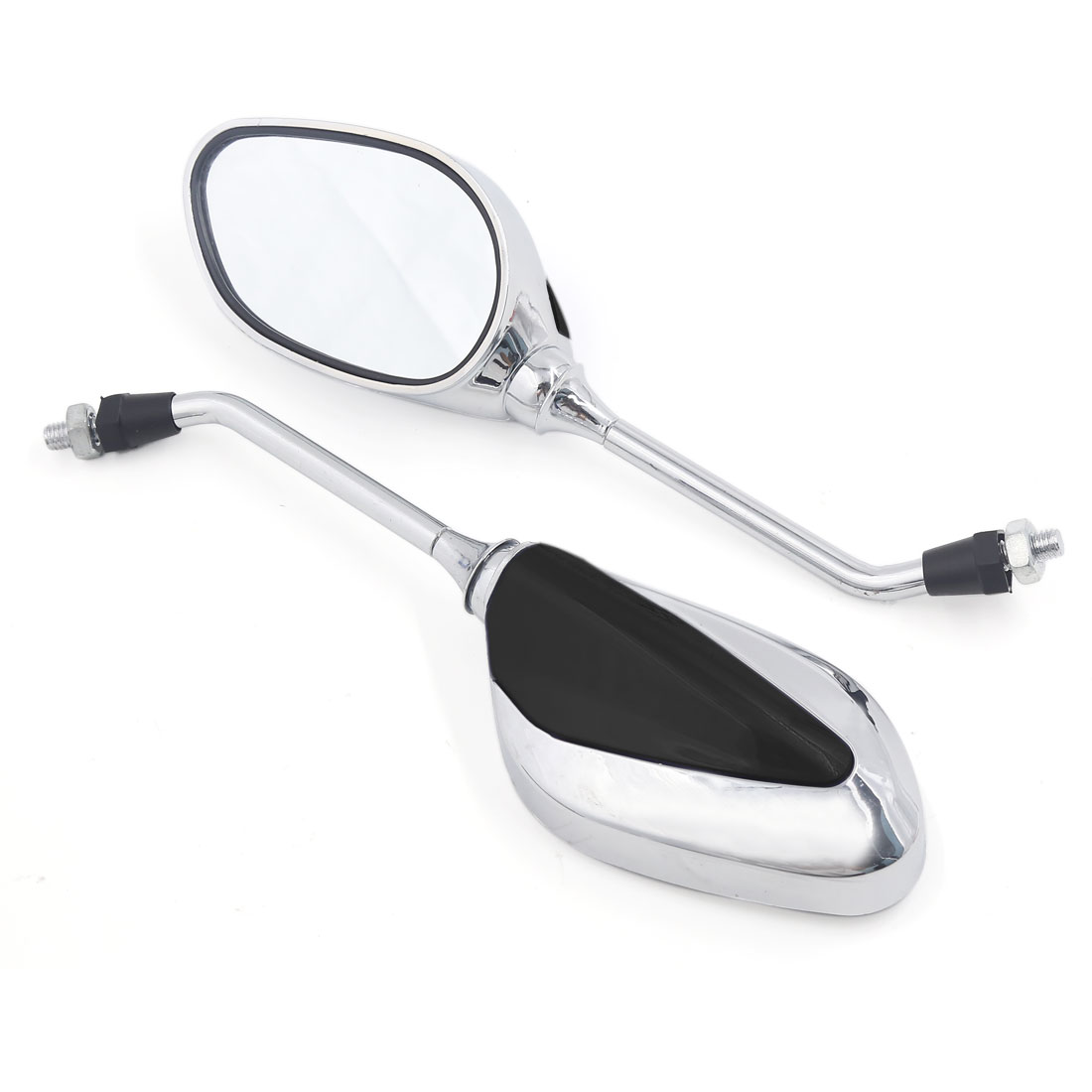2PCS Black Oval Design Side Rear View Mirror 8mm Thread Dia for Motorcycle Chopper
