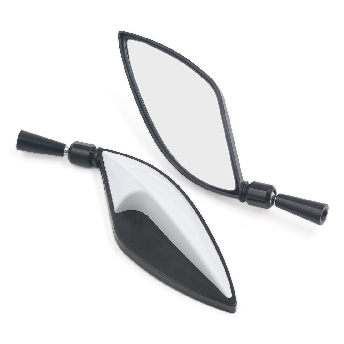 Pair Universal Leaf Shaped Flat Side Rearview Mirrors 8mm 10mm White for Motorcycle