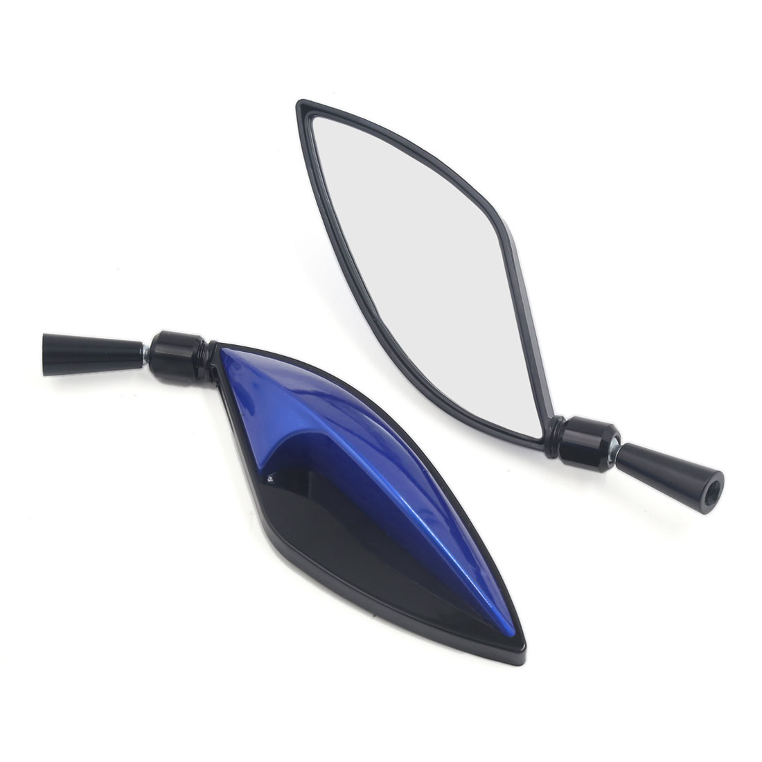 2pcs Leaf Style Adjustable Motorcycle Bike Scooter Side Mirrors 8mm 10mm Blue