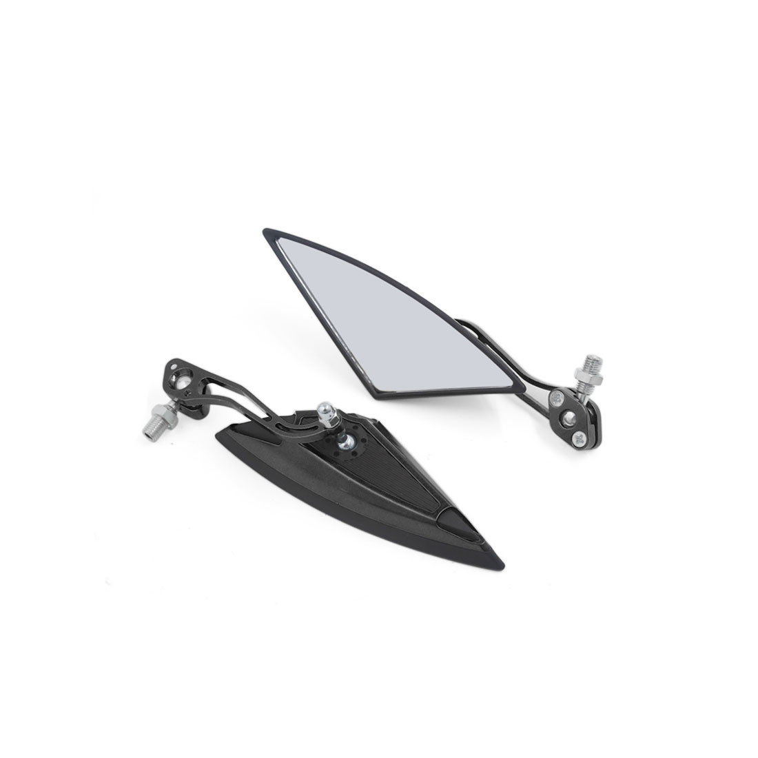 Pair 360 Degree Rotatable Triangle Shape Mirrors Black for Motorcycles Crusiers