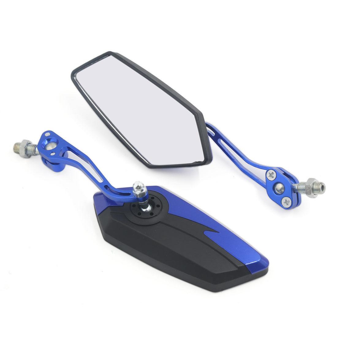 Pair 10mm 360 Degree Rotatable Motorcycle Bike Universal Rearview Mirror Blue Black