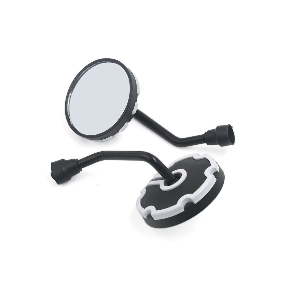 10mm Thread Round Shaped Motorcycle Bike Adjustable Rearview Mirror White Pair