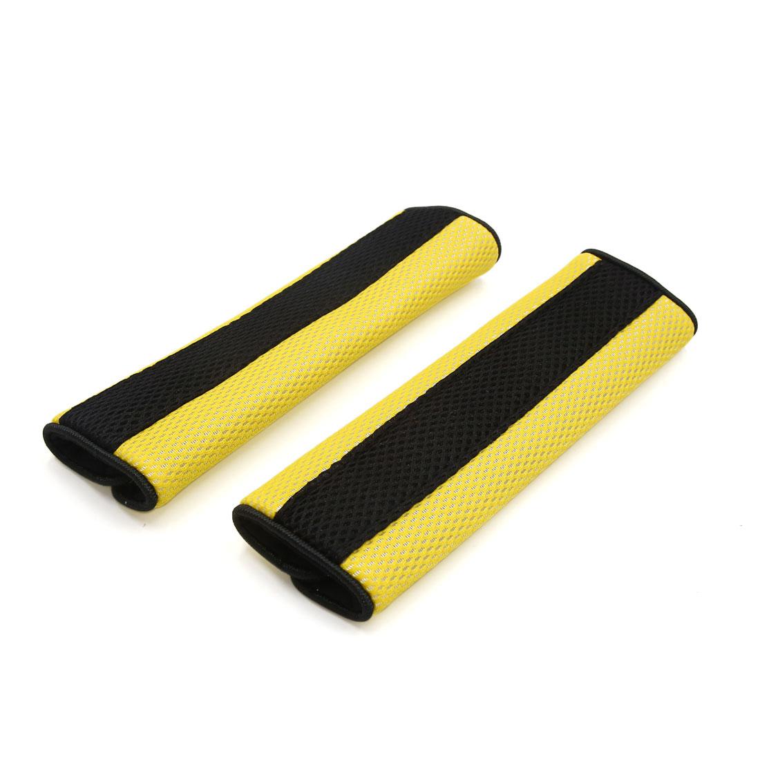 21cm Long Hook Loop Fastener Car Safety Seat Belt Cover Shoulder Cushion Pad Yellow Black Pair