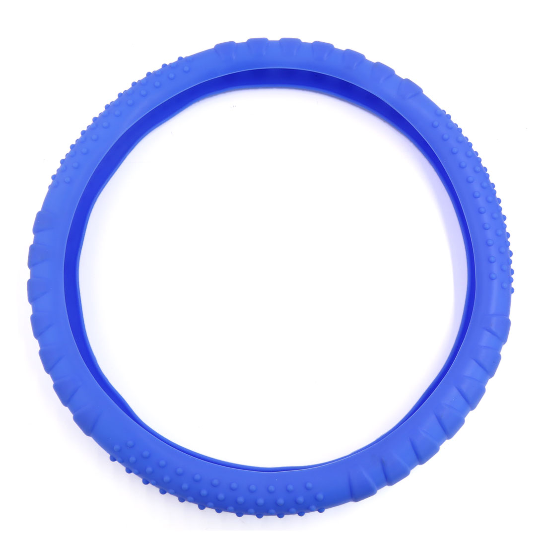 34cm Outer Dia Blue Soft Silicone Steering Wheel Cover Protector for Car