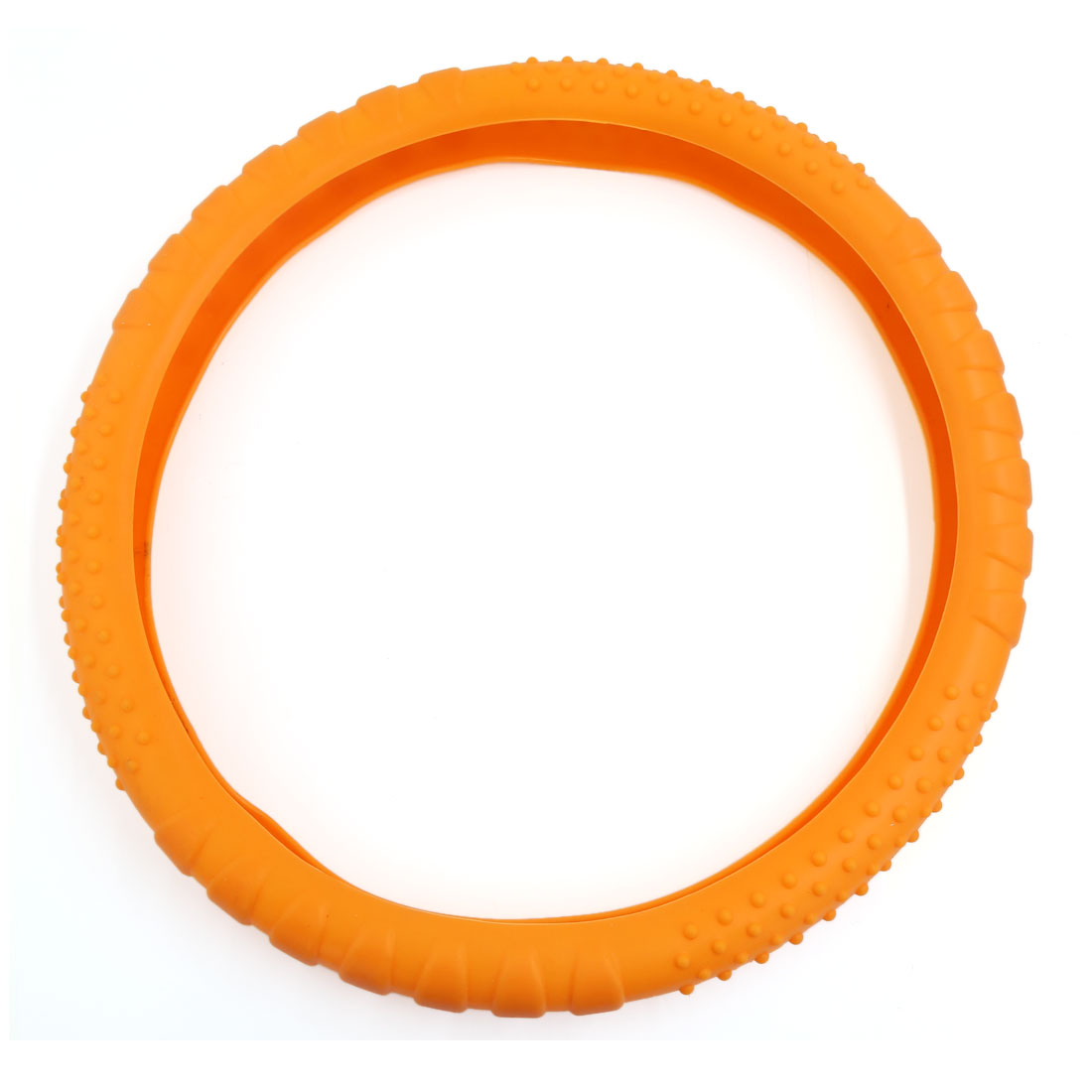 34cm Outer Dia Orange Skidproof Auto Car Steering Wheel Silicon Cover Shell
