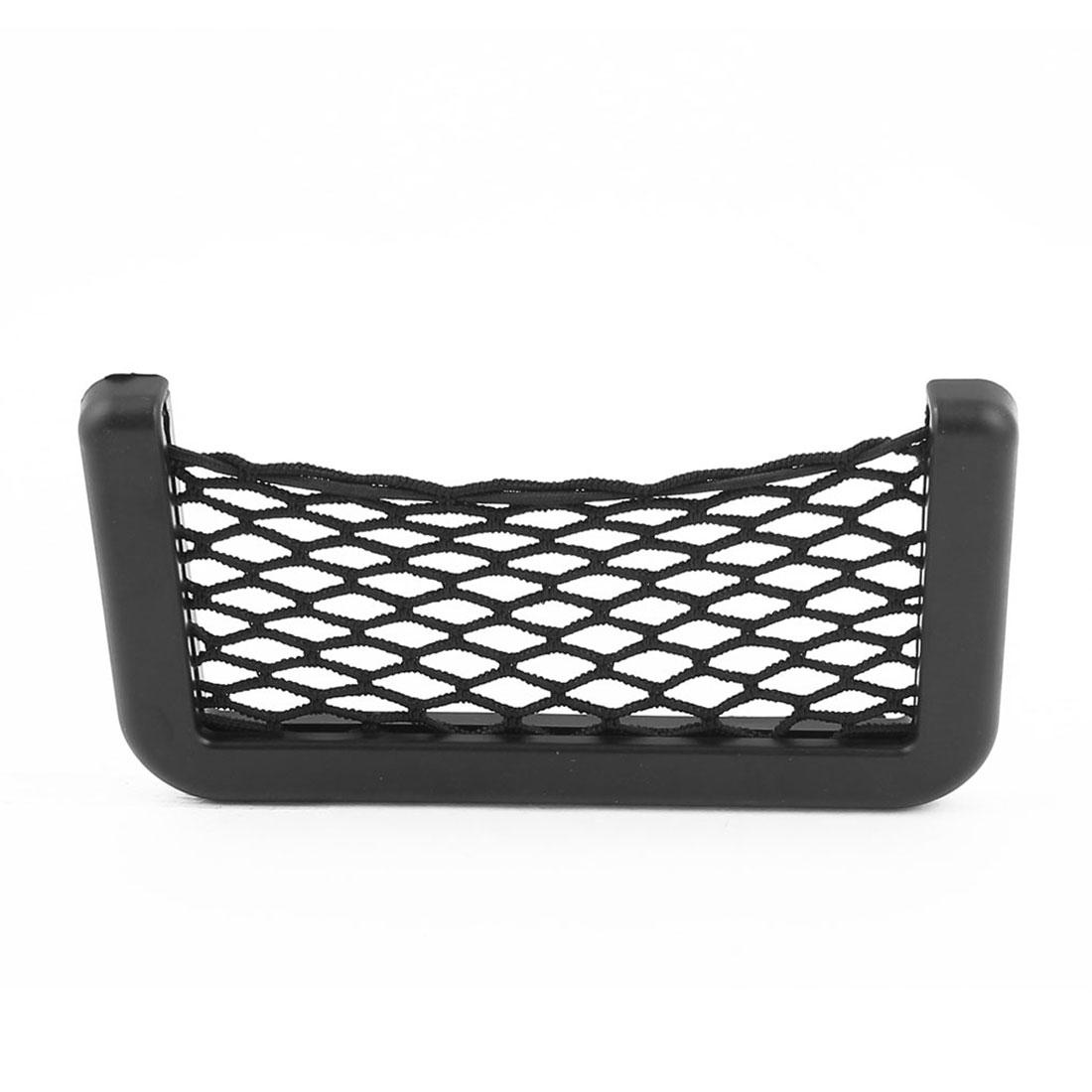 Car Storage Mesh Net Resilient String Bag Pocket Phone Holder Organizer Black