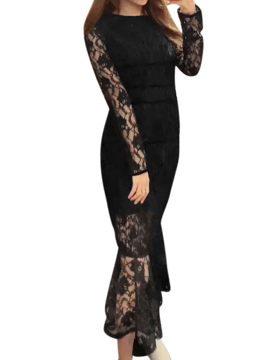 Women Semi Sheer Flouncing Hem Lace Midi Sheath Dress Black XS