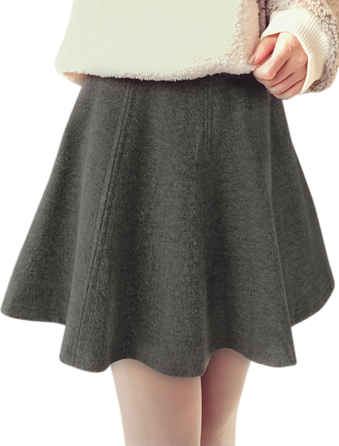 Women High Rise Seamed Worsted Mini A Line Skirt Gray M