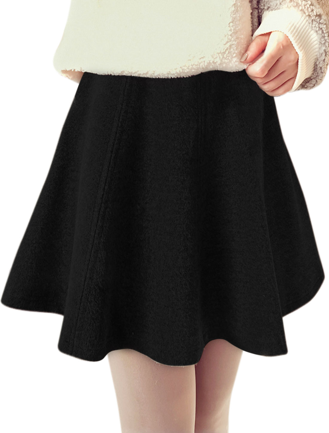 Women High Rise Seamed Worsted Mini A Line Skirt Black XS