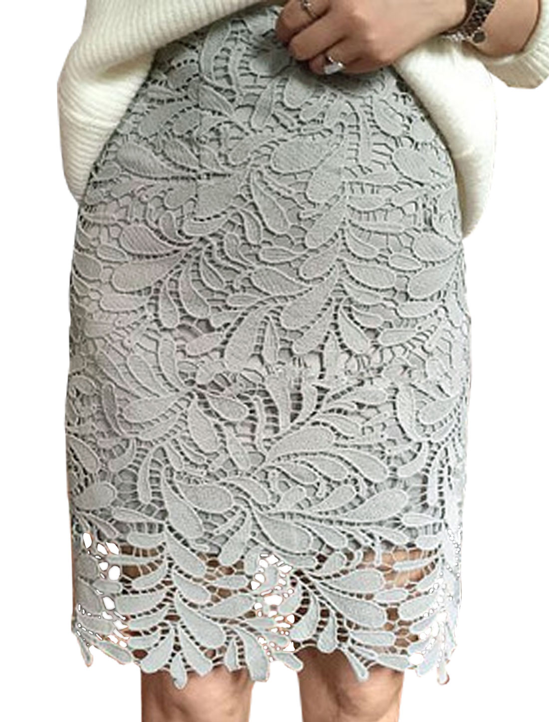 Women High Rise Hollow Out Leaves Design Straight Skirt Gray M