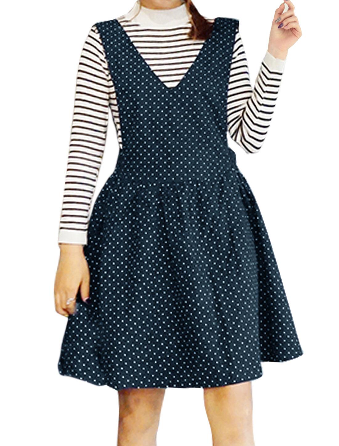 Women V Neckline Polka Dots Fit and Flare Jumper Dress Blue XS