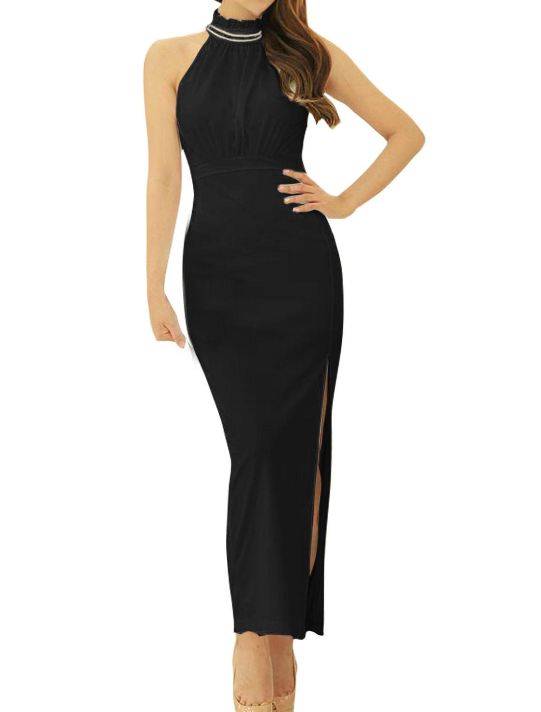 Women Rhinestones Decor Halter Neck High Split Maxi Dress Black XS