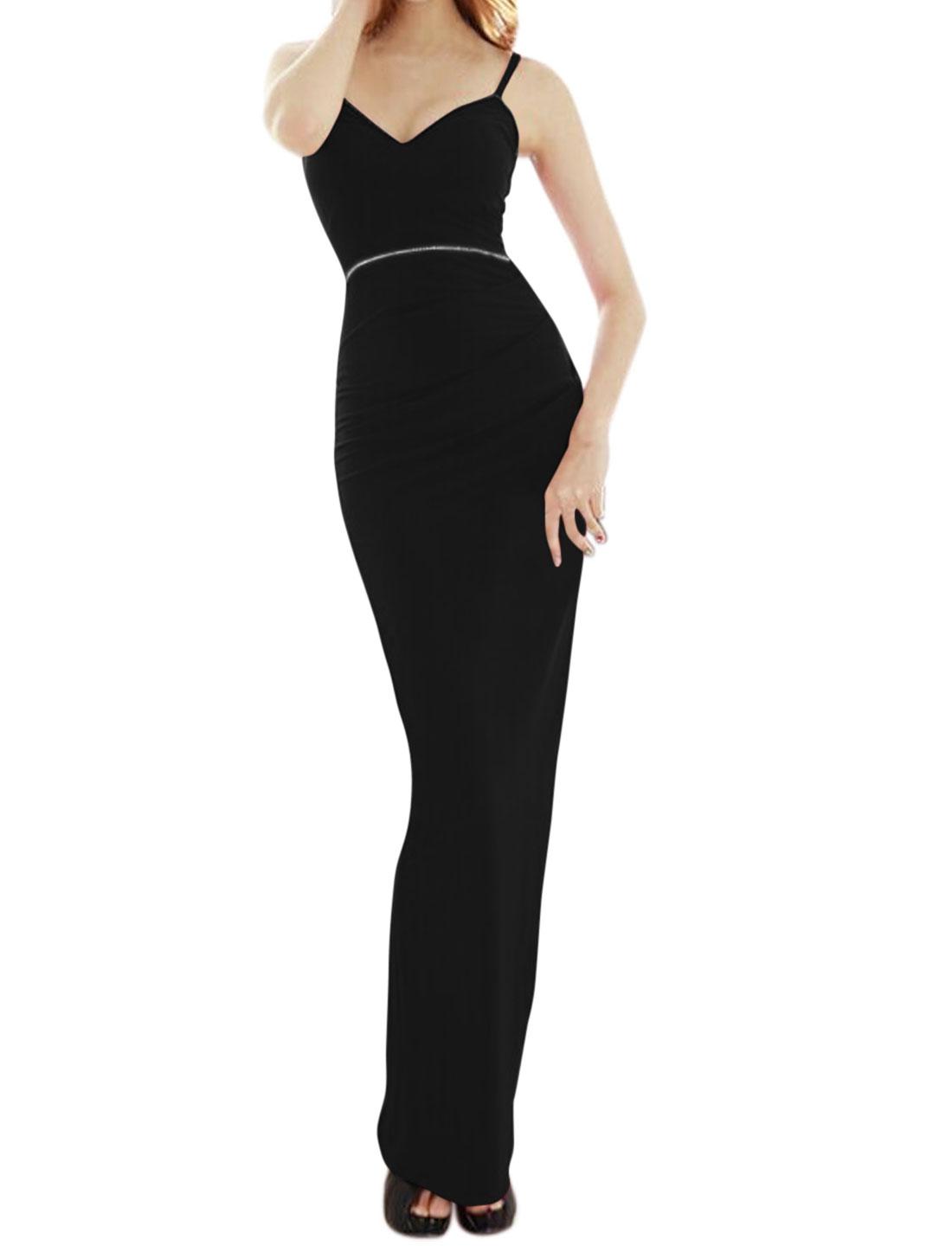 Lady Sweetheart Neckline Spaghetti Straps High Split Maxi Dress Black XS