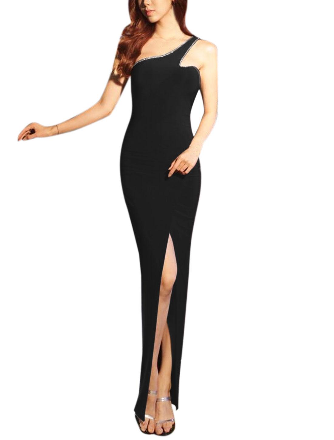 Women Rhinestone Decor One Shoulder High Split Maxi Dress Black XS